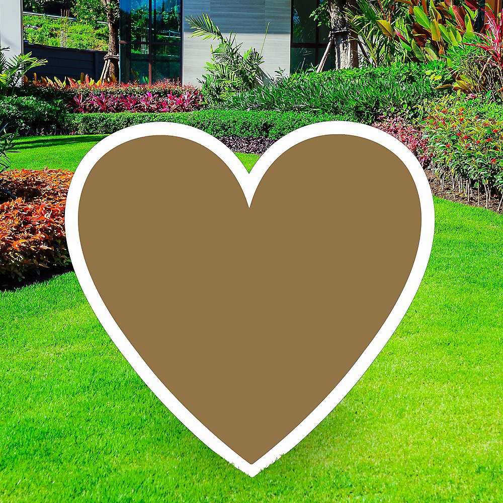 Giant Gold Corrugated Plastic Heart Yard Sign, 26in Image #1