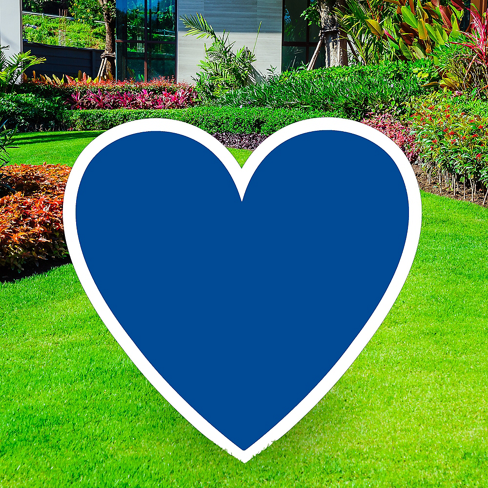 Giant Royal Blue Corrugated Plastic Heart Yard Sign, 26in Image #1