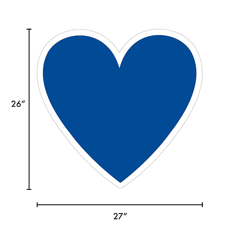 Giant Royal Blue Corrugated Plastic Heart Yard Sign, 26in Image #2