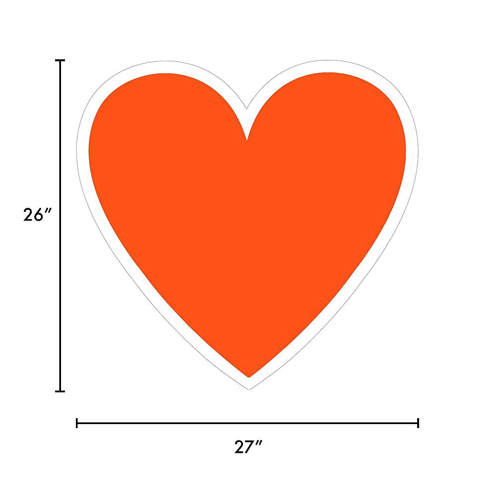 Giant Orange Corrugated Plastic Heart Yard Sign, 26in Image #2