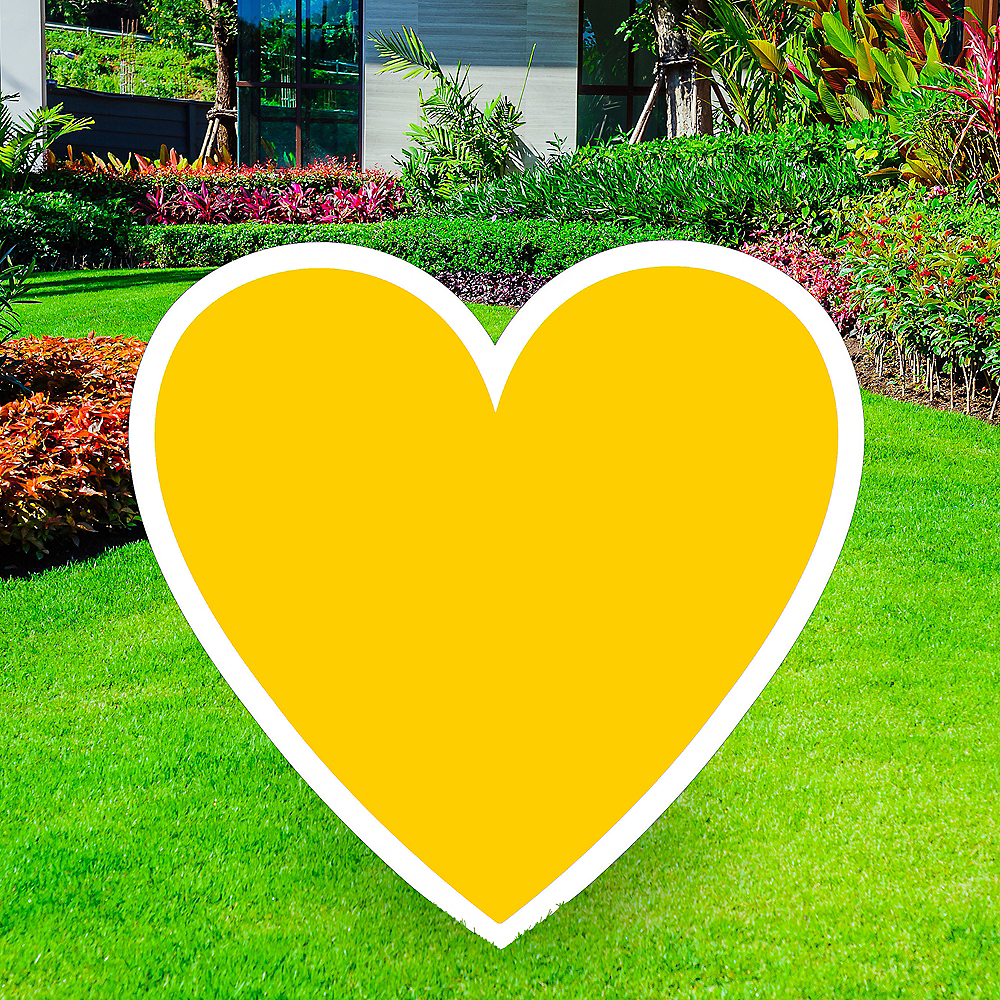 Giant Yellow Corrugated Plastic Heart Yard Sign, 26in Image #1