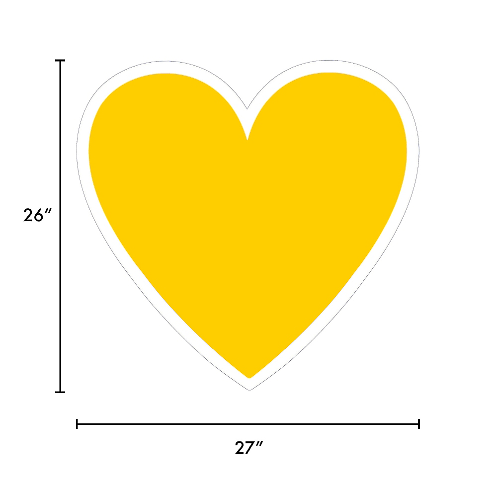 Giant Yellow Corrugated Plastic Heart Yard Sign, 26in Image #2
