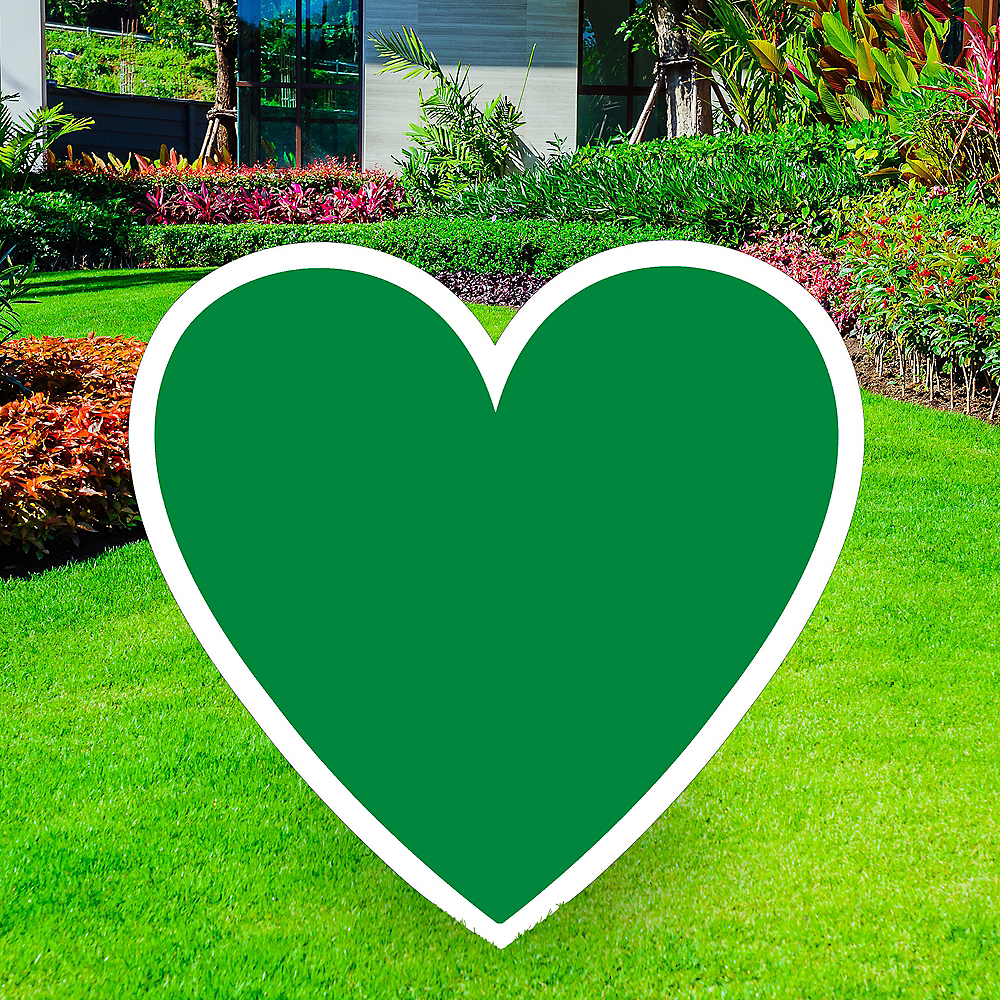 Giant Festive Green Corrugated Plastic Heart Yard Sign, 26in Image #1