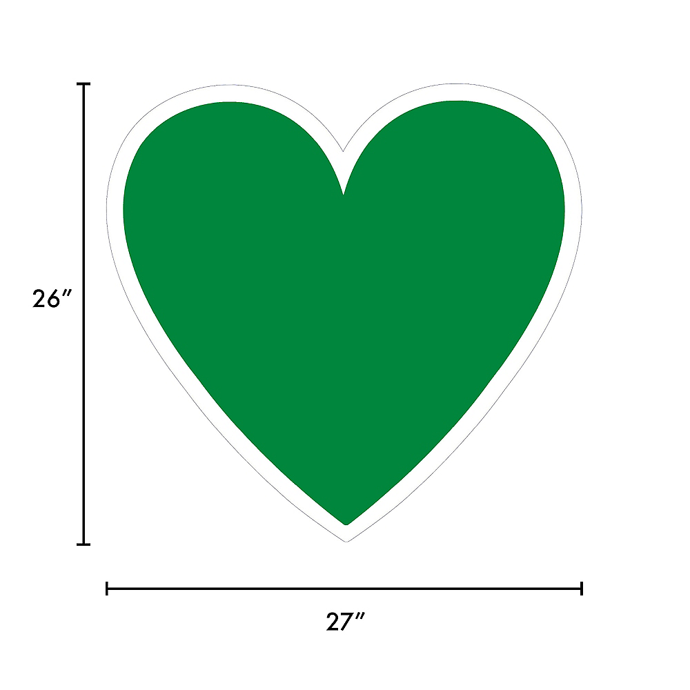 Giant Festive Green Corrugated Plastic Heart Yard Sign, 26in Image #2