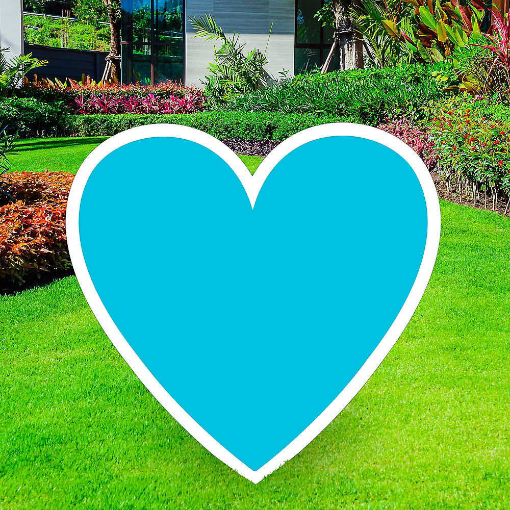 Giant Caribbean Blue Corrugated Plastic Heart Yard Sign, 26in Image #1