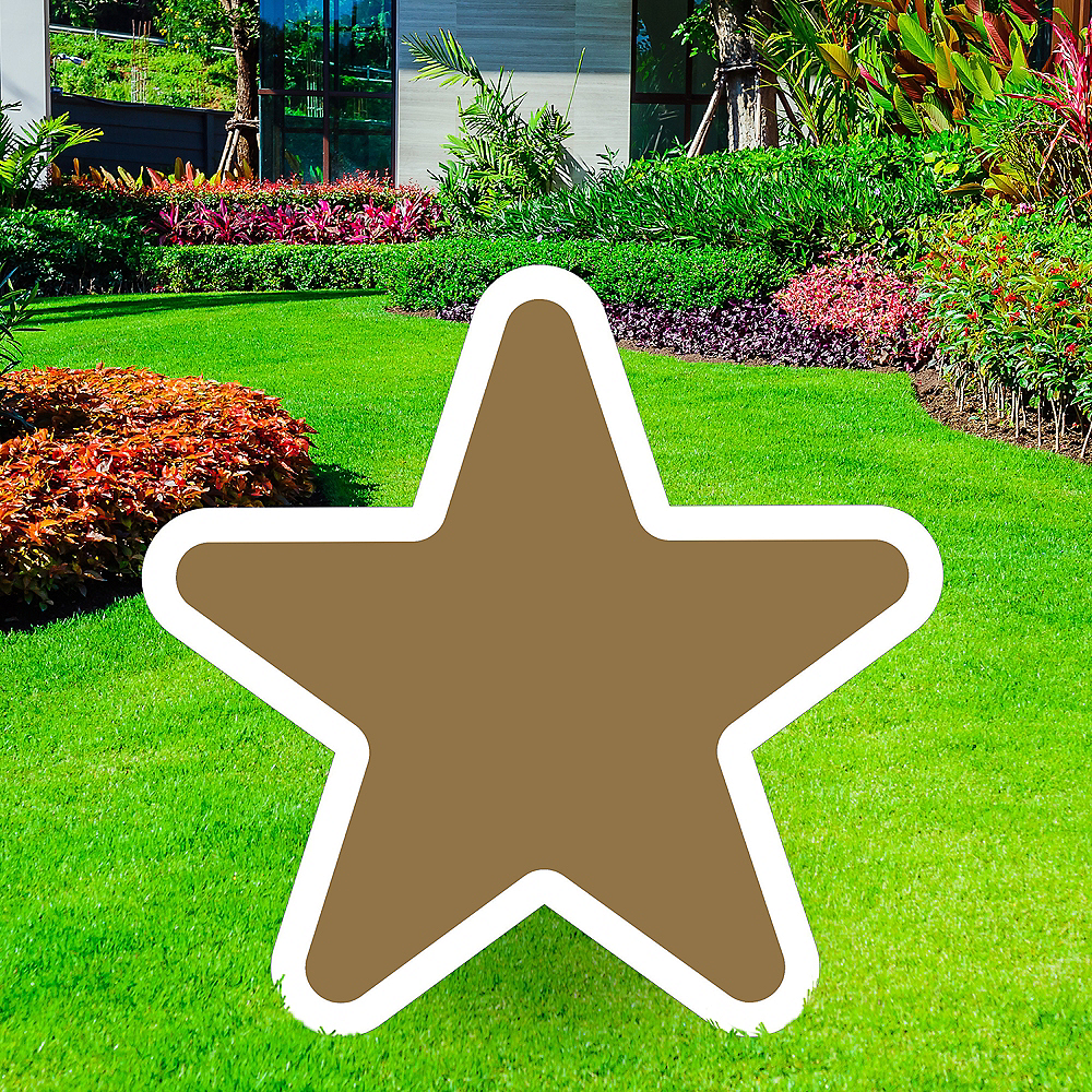 Giant Gold Corrugated Plastic Star Yard Sign, 30in Image #1