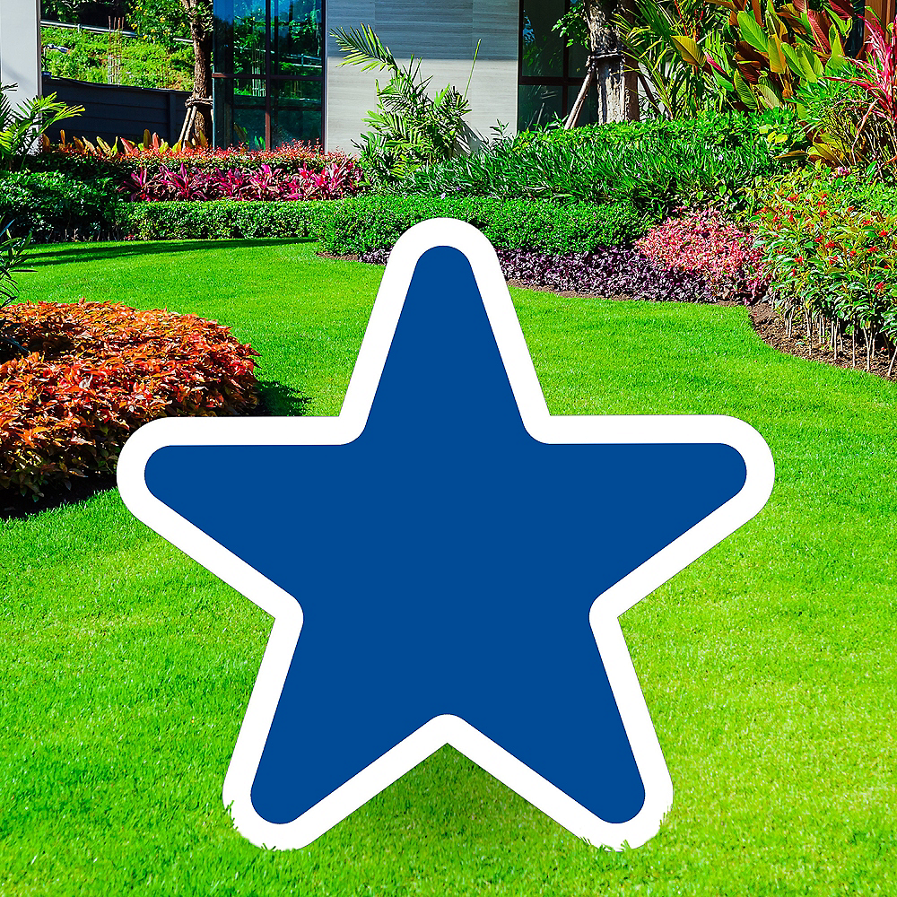 Giant Royal Blue Corrugated Plastic Star Yard Sign, 30in Image #1