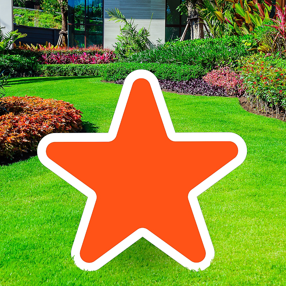 Nav Item for Giant Orange Corrugated Plastic Star Yard Sign, 30in Image #1