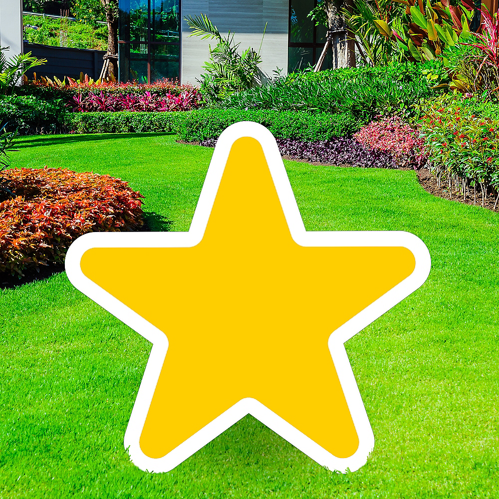 Giant Yellow Corrugated Plastic Star Yard Sign, 30in Image #1