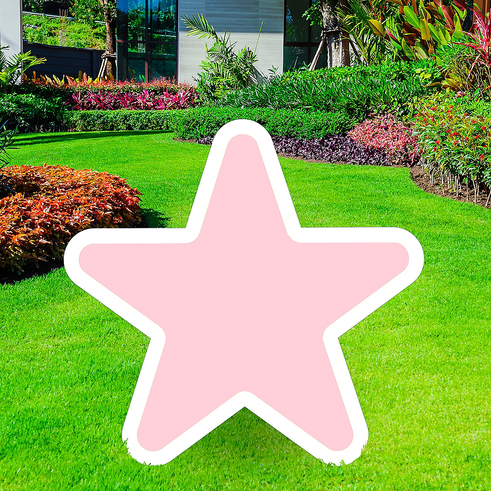 Giant Blush Pink Corrugated Plastic Star Yard Sign, 30in Image #1