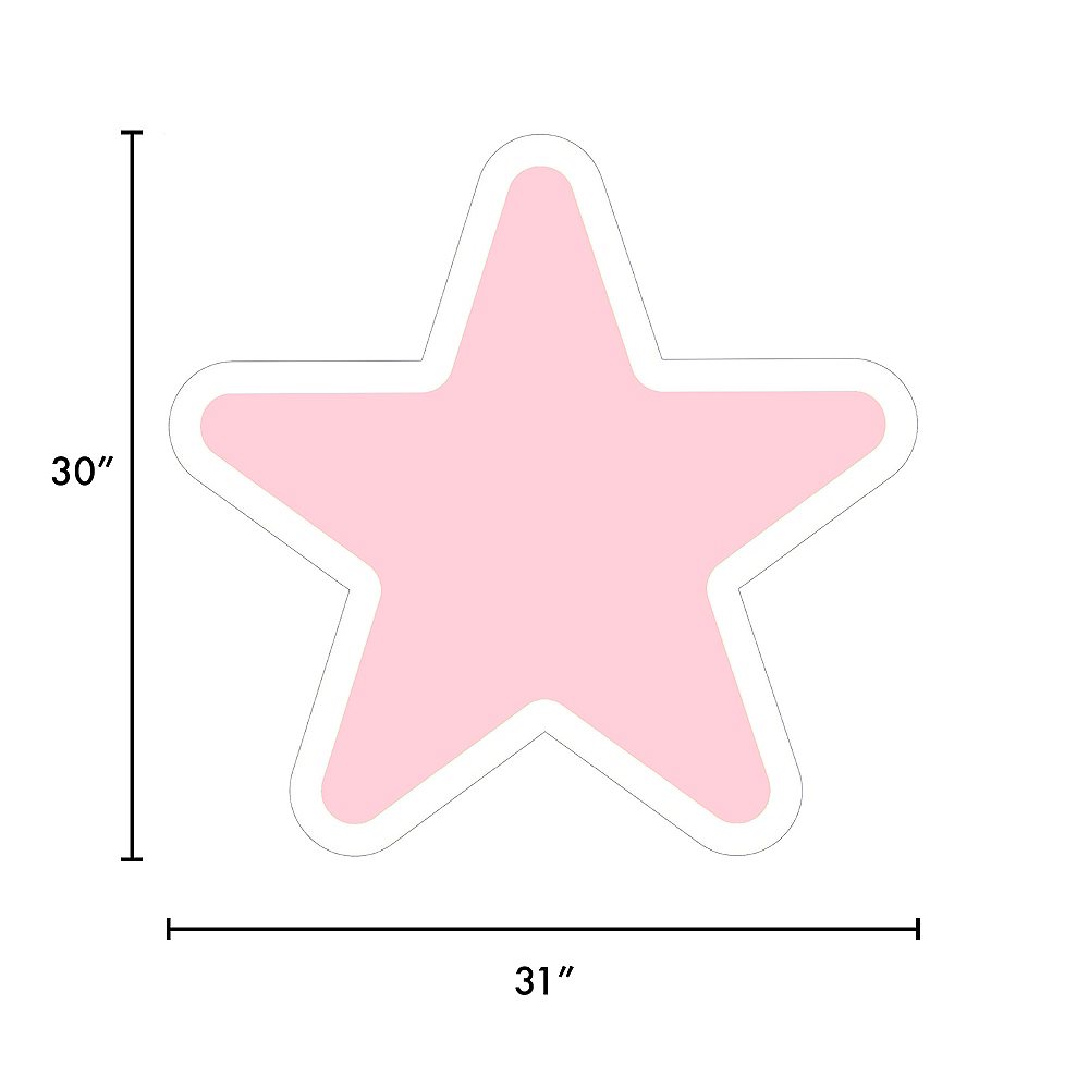Giant Blush Pink Corrugated Plastic Star Yard Sign, 30in Image #2
