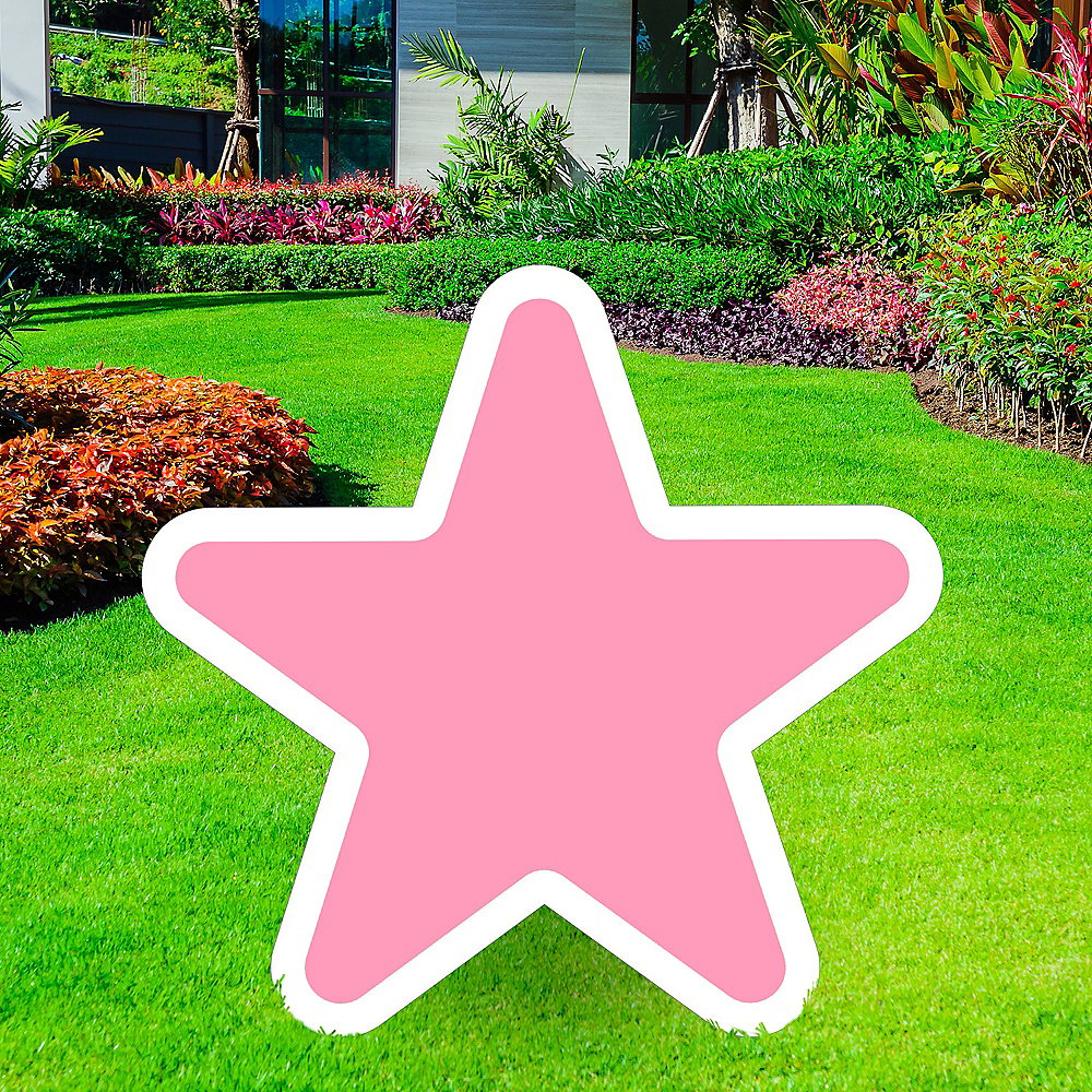 Giant Pink Corrugated Plastic Star Yard Sign, 30in Image #1