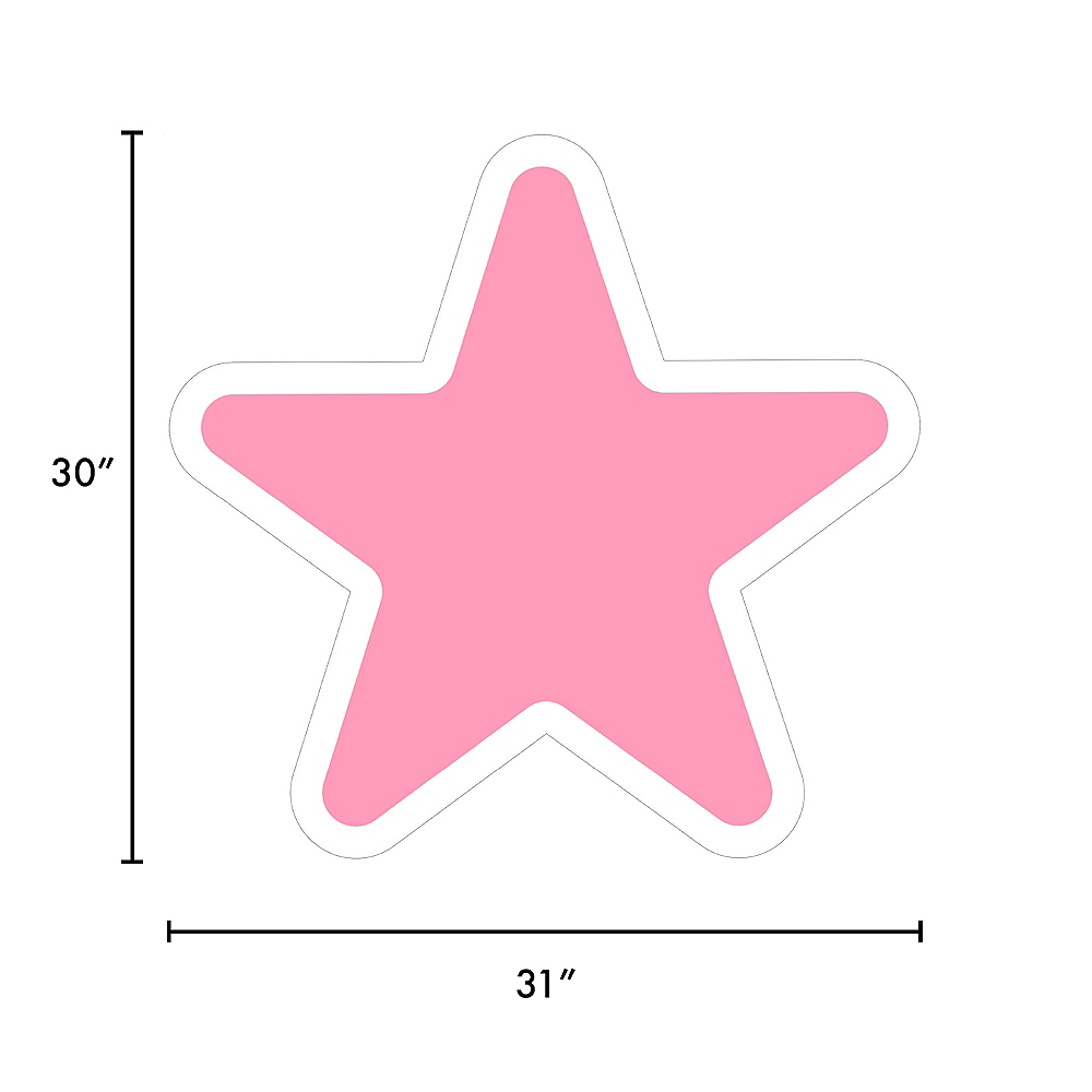 Giant Pink Corrugated Plastic Star Yard Sign, 30in Image #2