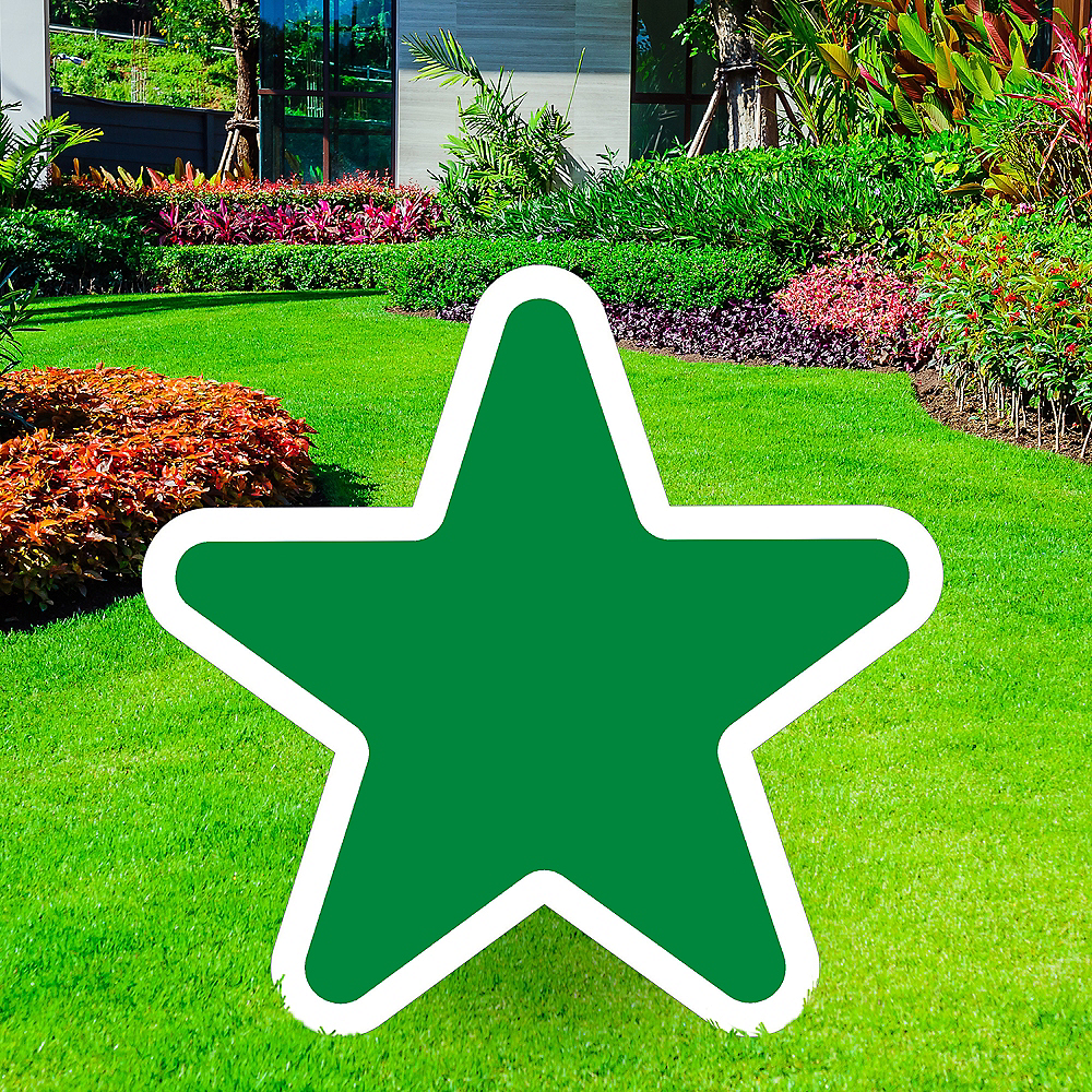 Giant Festive Green Corrugated Plastic Star Yard Sign, 30in Image #1