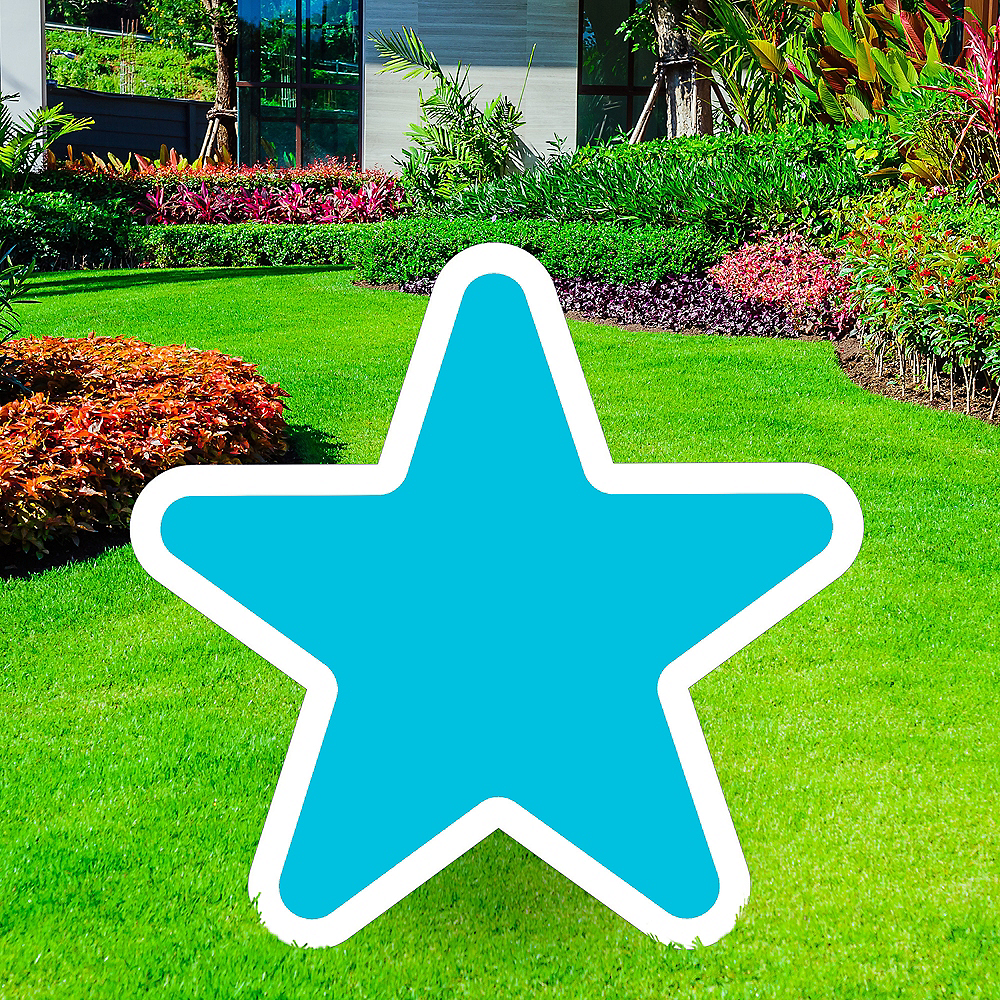 Giant Caribbean Blue Corrugated Plastic Star Yard Sign, 30in Image #1