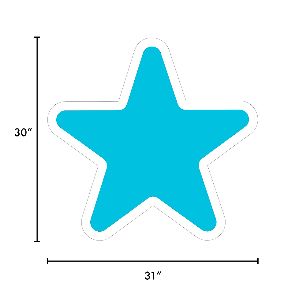 Giant Caribbean Blue Corrugated Plastic Star Yard Sign, 30in Image #2