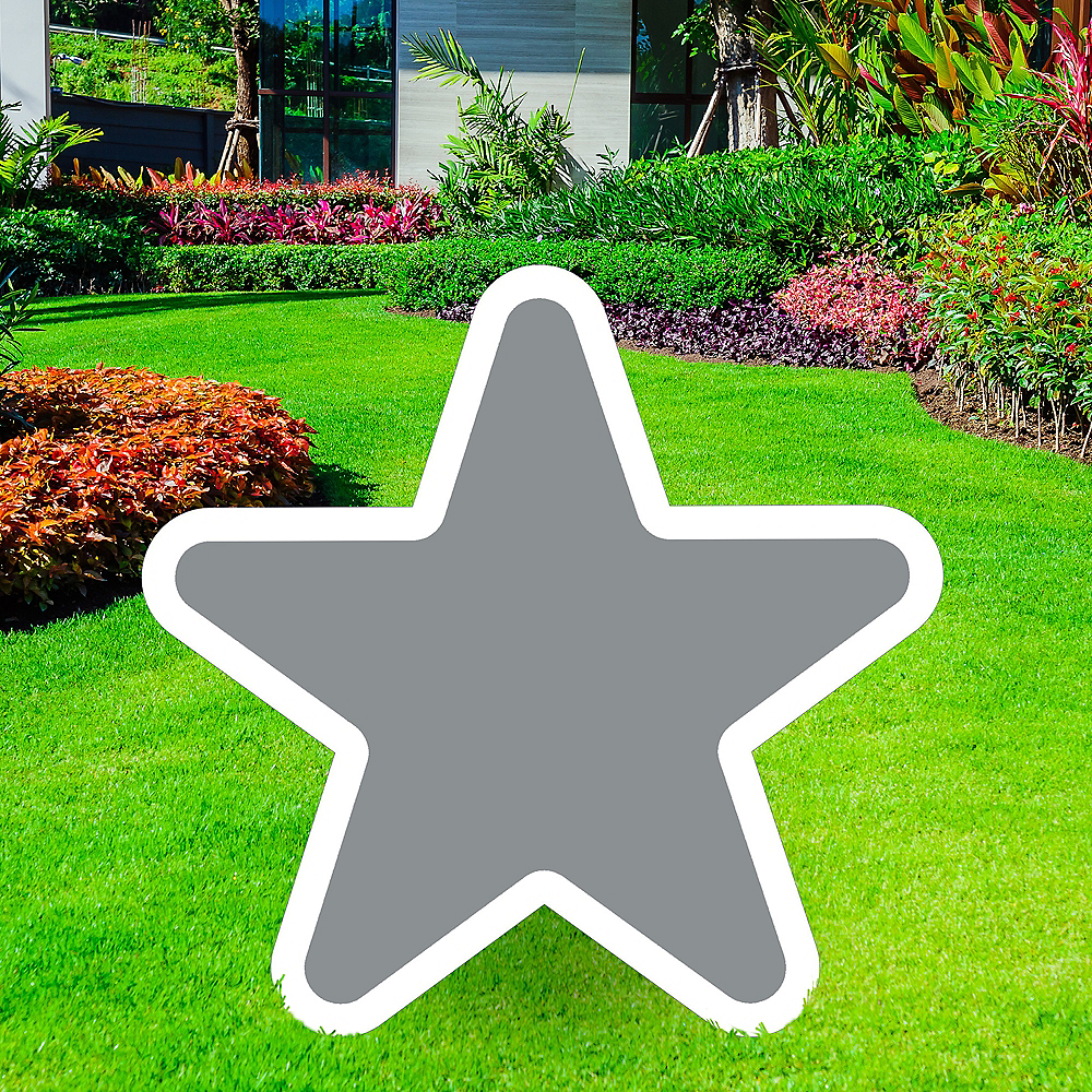Giant Silver Corrugated Plastic Star Yard Sign, 30in Image #1