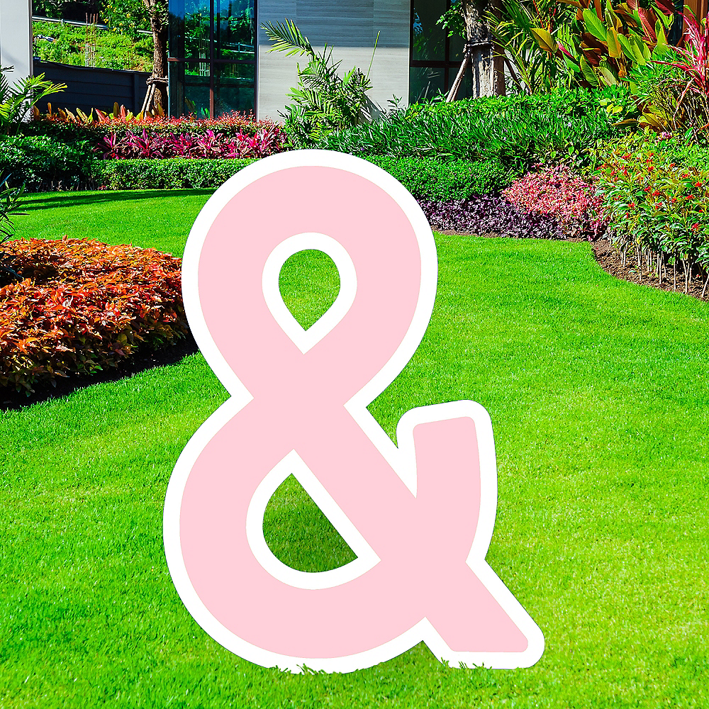 Giant Blush Pink Corrugated Plastic Ampersand Yard Sign, 30in Image #1