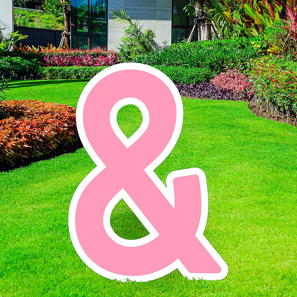 Giant Pink Corrugated Plastic Ampersand Yard Sign, 30in Image #1