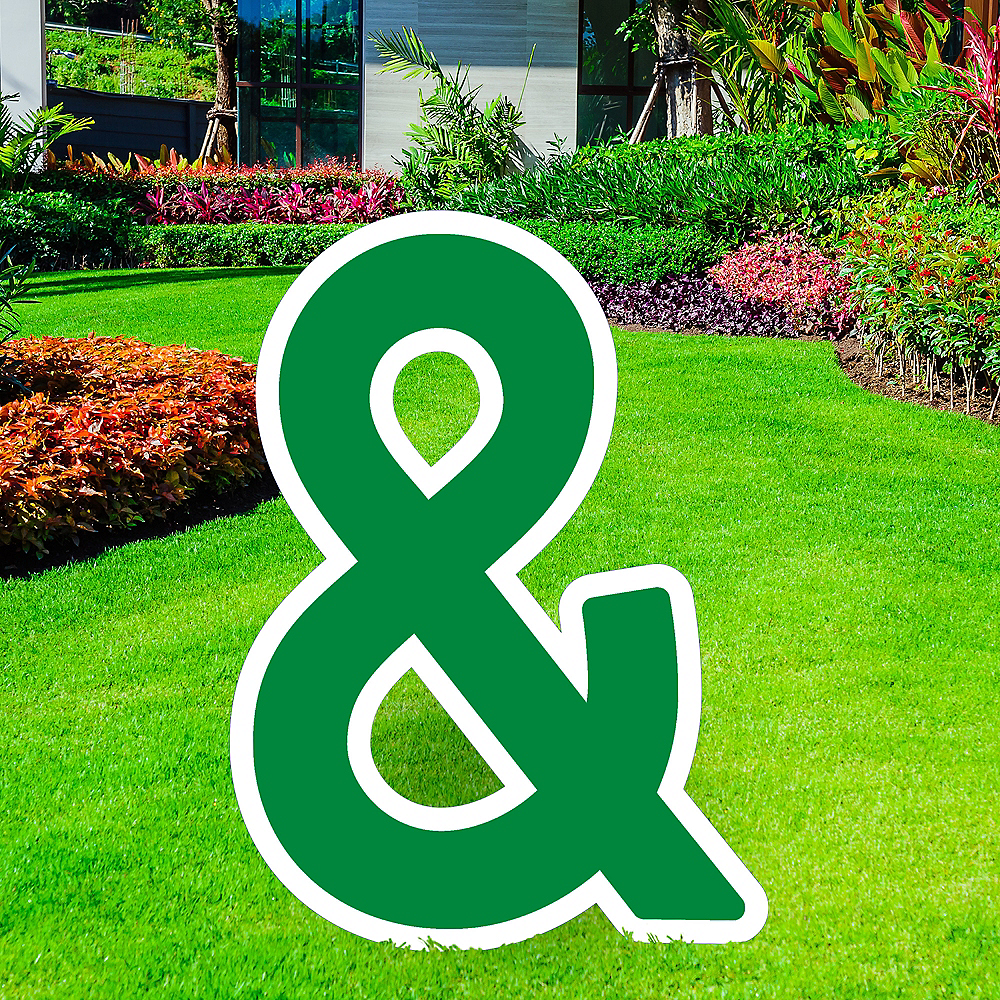 Giant Festive Green Corrugated Plastic Ampersand Yard Sign, 30in Image #1