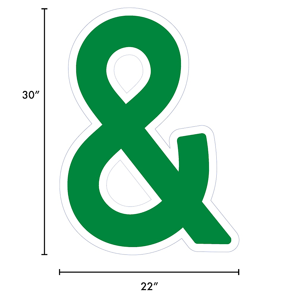 Giant Festive Green Corrugated Plastic Ampersand Yard Sign, 30in Image #2