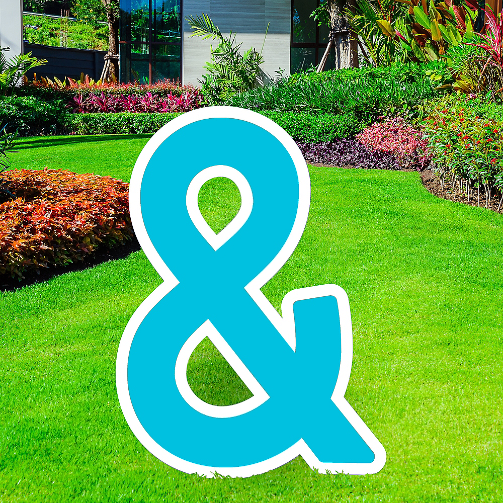 Giant Caribbean Blue Corrugated Plastic Ampersand Yard Sign, 30in Image #1