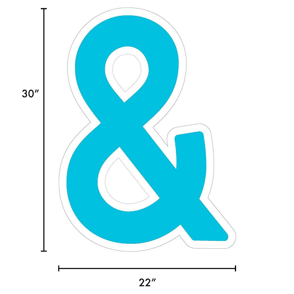 Giant Caribbean Blue Corrugated Plastic Ampersand Yard Sign, 30in Image #2