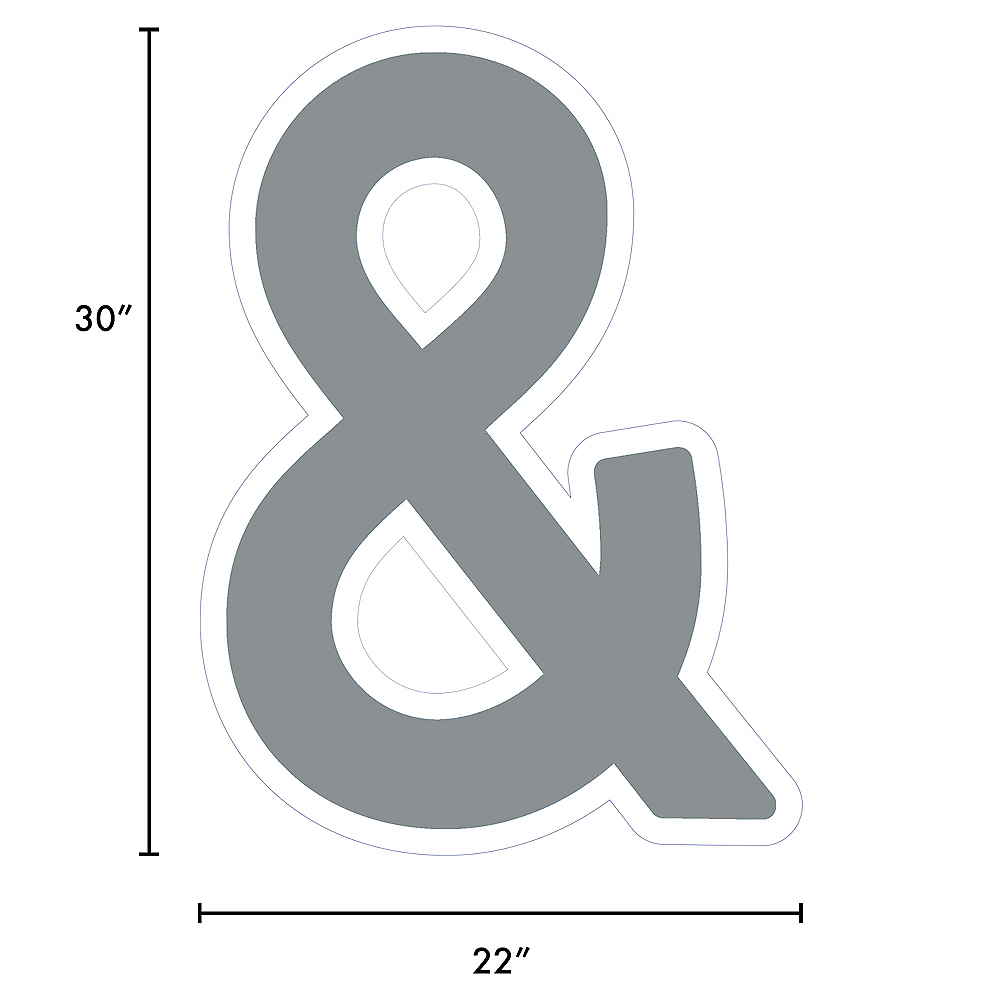 Giant Silver Corrugated Plastic Ampersand Yard Sign, 30in Image #2