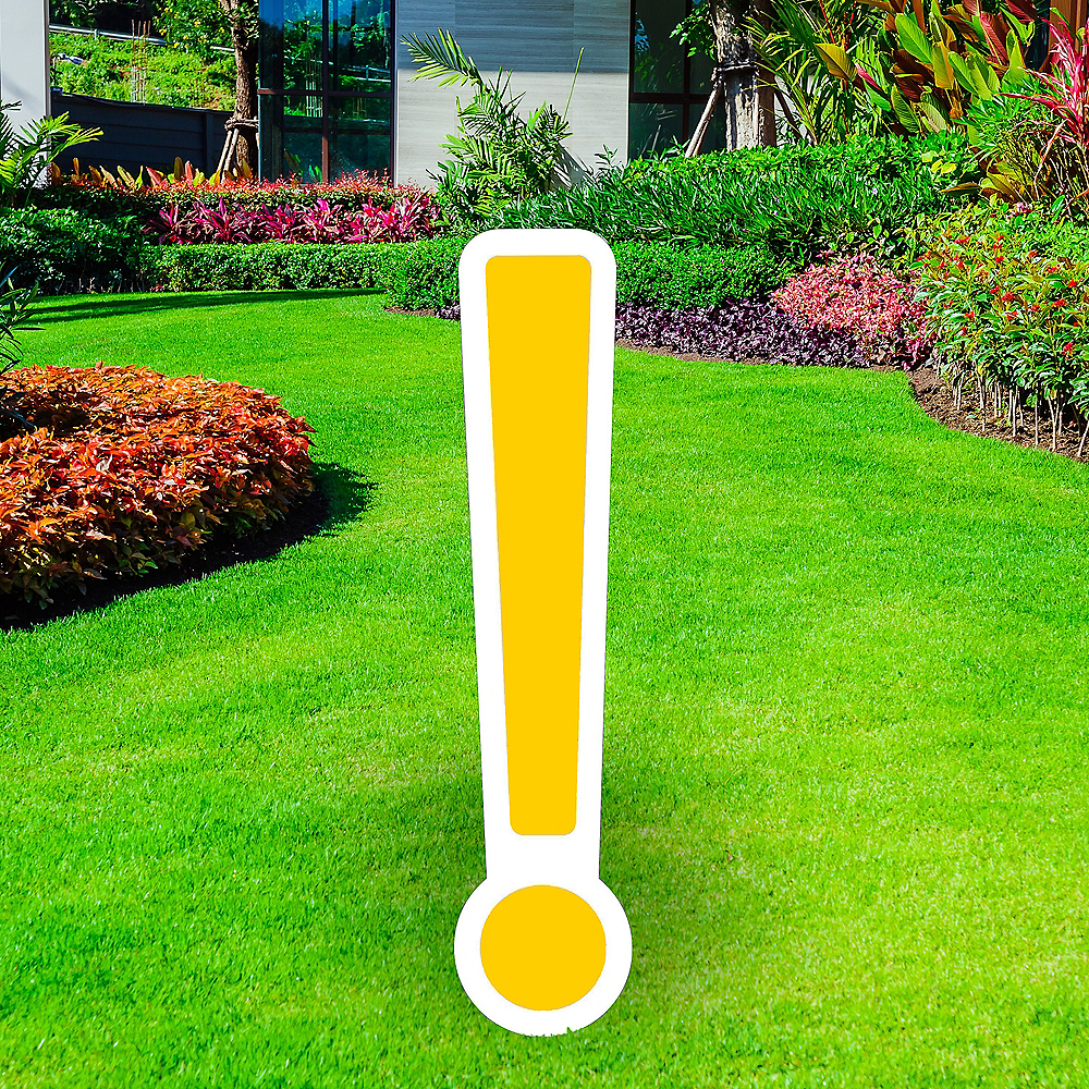 Giant Yellow Corrugated Plastic Exclamation Point Yard Sign, 30in Image #1