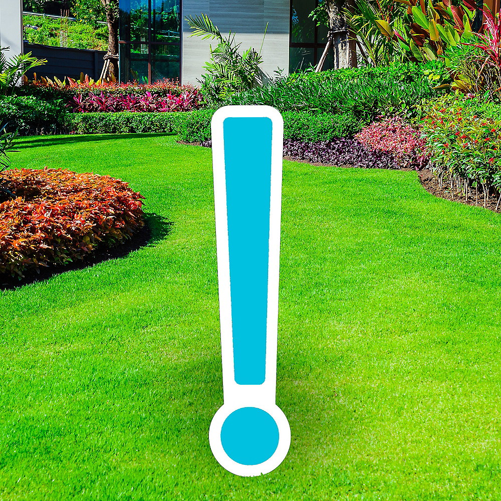 Giant Caribbean Blue Corrugated Plastic Exclamation Point Yard Sign, 30in Image #1