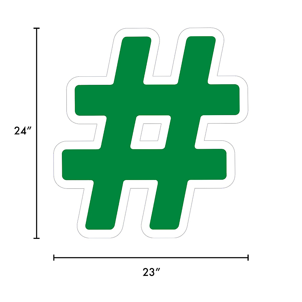 Giant Festive Green Corrugated Plastic Hashtag Yard Sign, 24in Image #2
