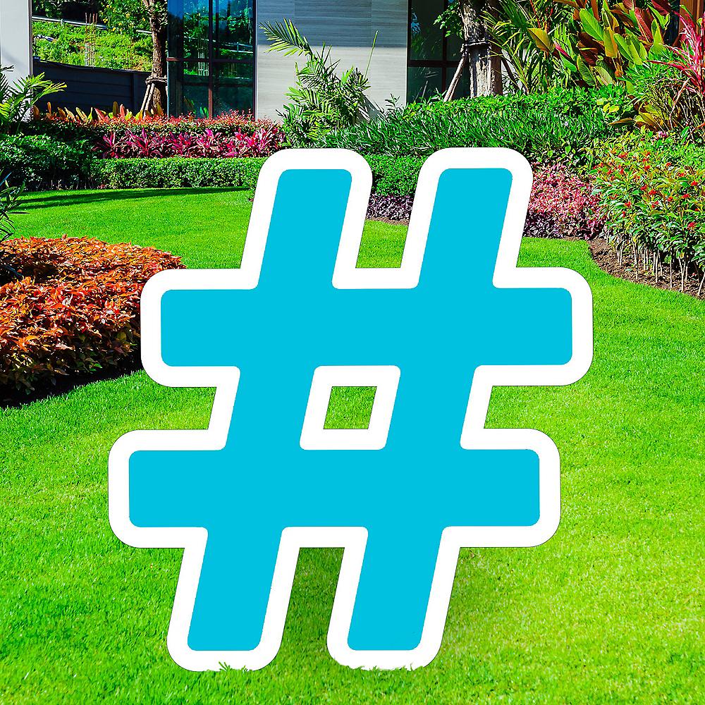Giant Caribbean Blue Corrugated Plastic Hashtag Yard Sign, 24in Image #1