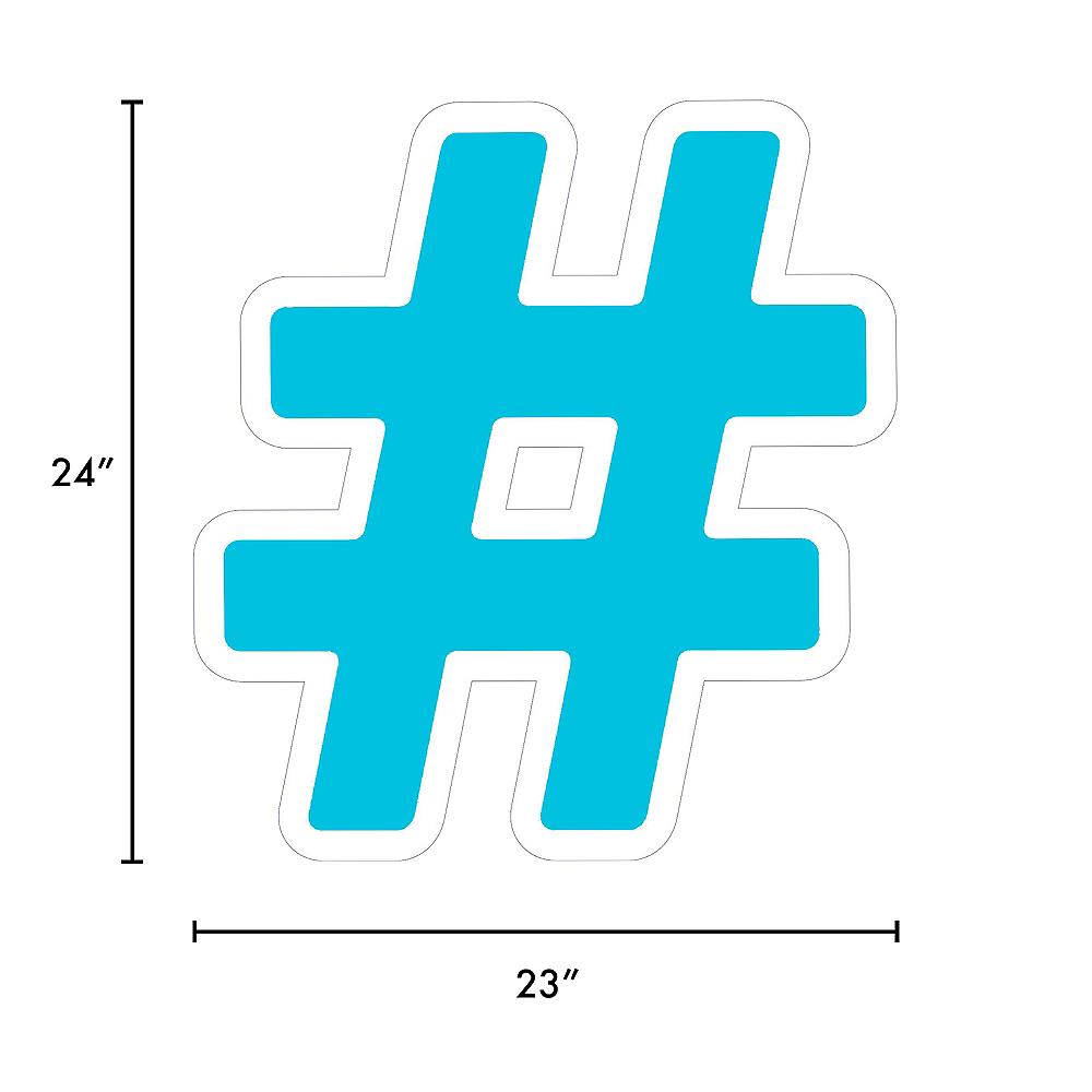Giant Caribbean Blue Corrugated Plastic Hashtag Yard Sign, 24in Image #2