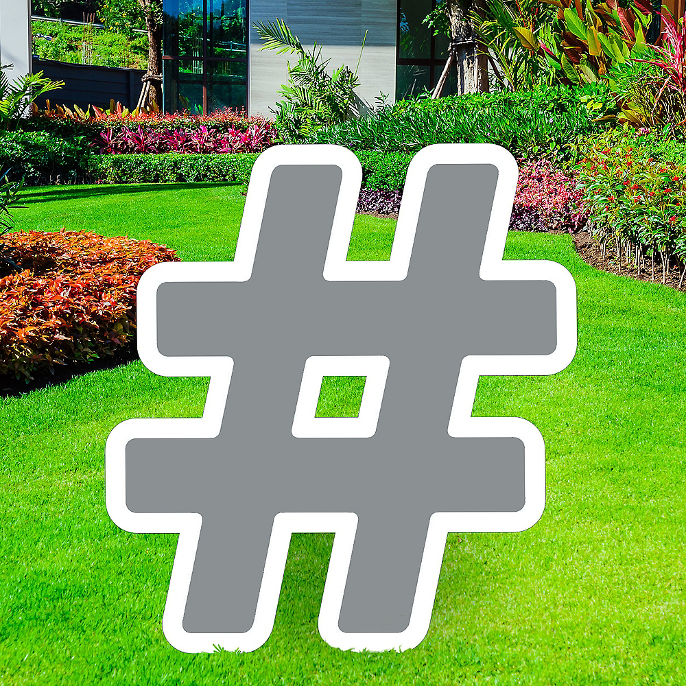 Giant Silver Corrugated Plastic Hashtag Yard Sign, 24in Image #1
