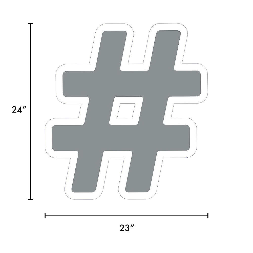Giant Silver Corrugated Plastic Hashtag Yard Sign, 24in Image #2