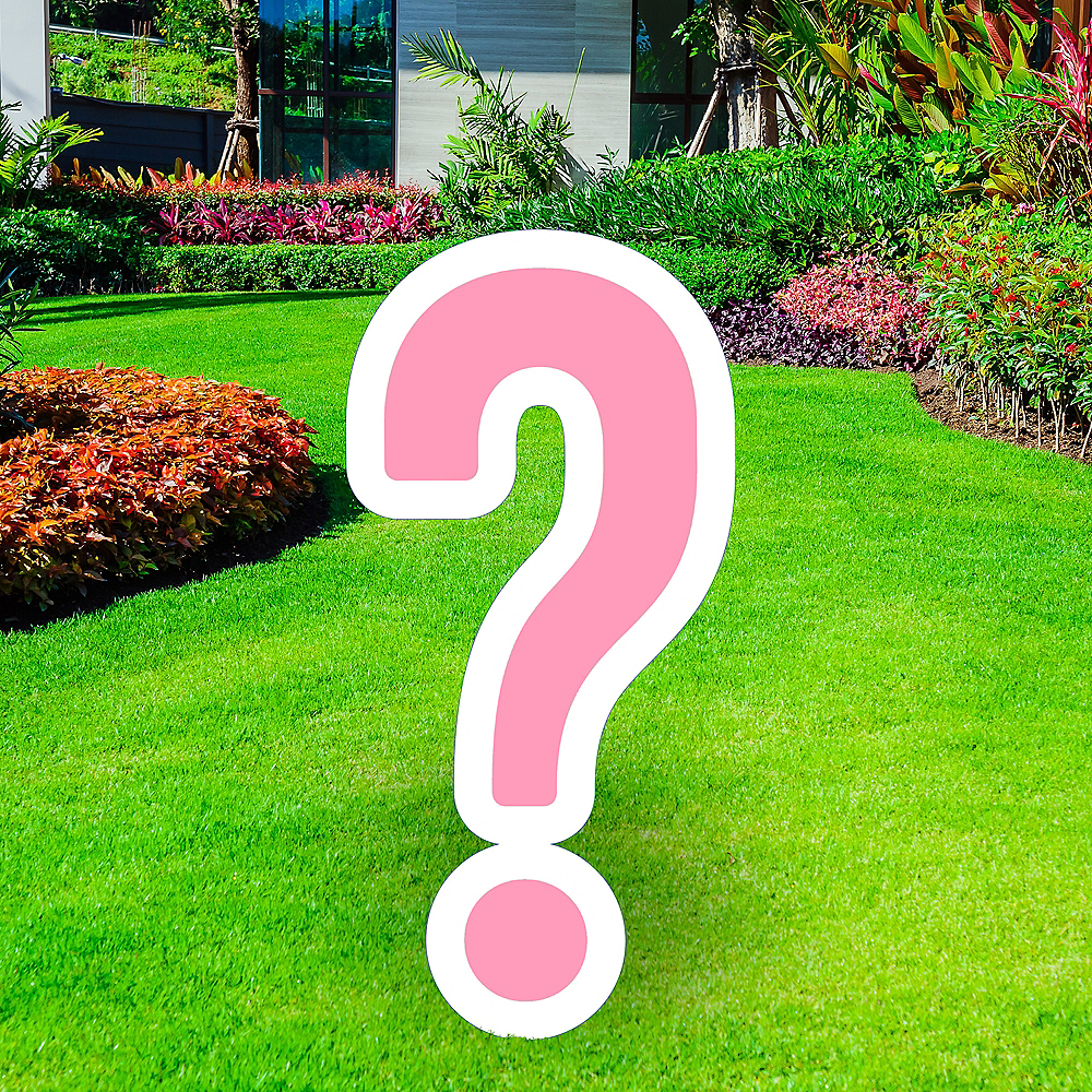 Giant Pink Corrugated Plastic Question Mark Yard Sign, 20in Image #1