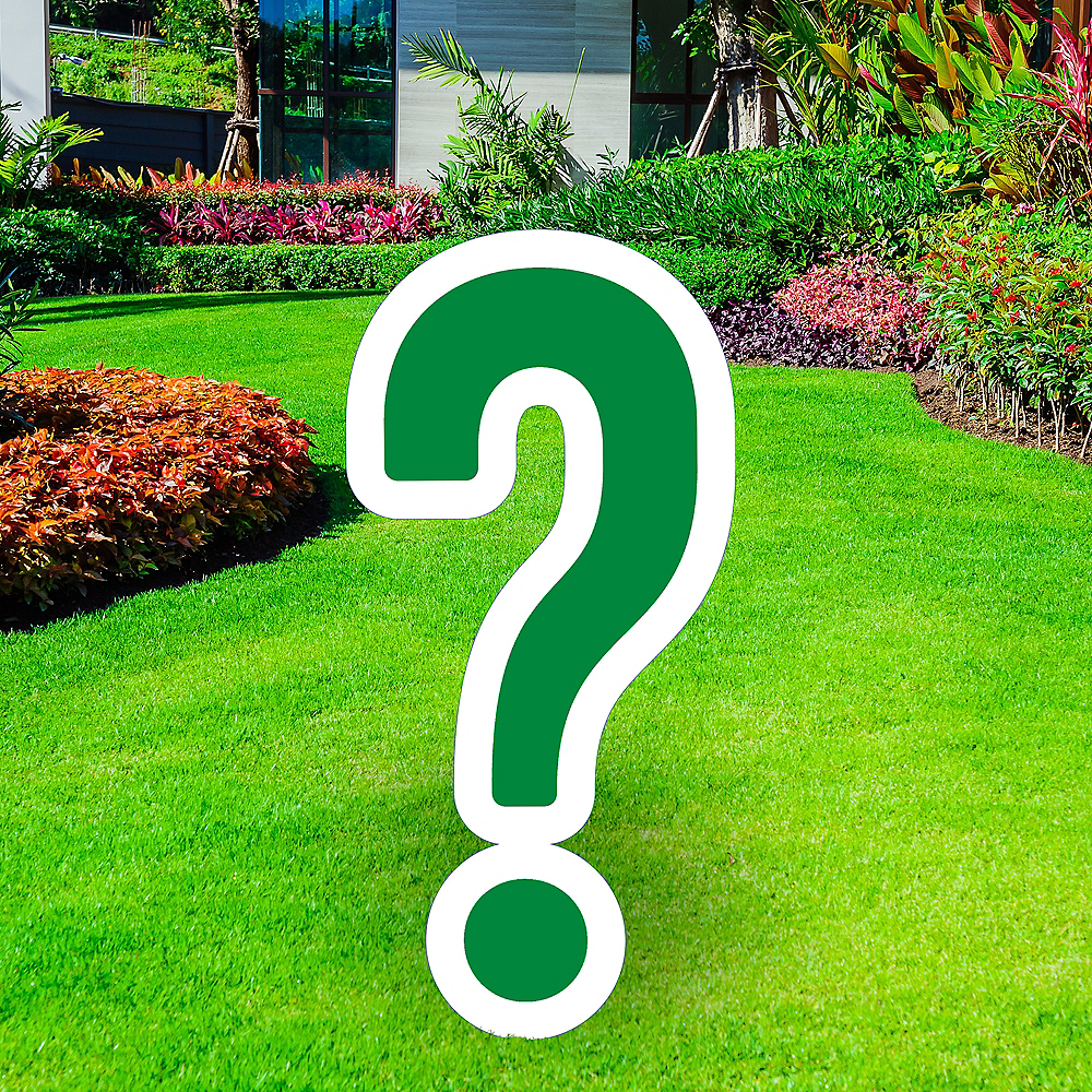 Giant Festive Green Corrugated Plastic Question Mark Yard Sign, 20in Image #1
