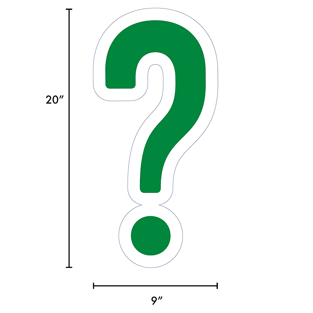 Giant Festive Green Corrugated Plastic Question Mark Yard Sign, 20in Image #2