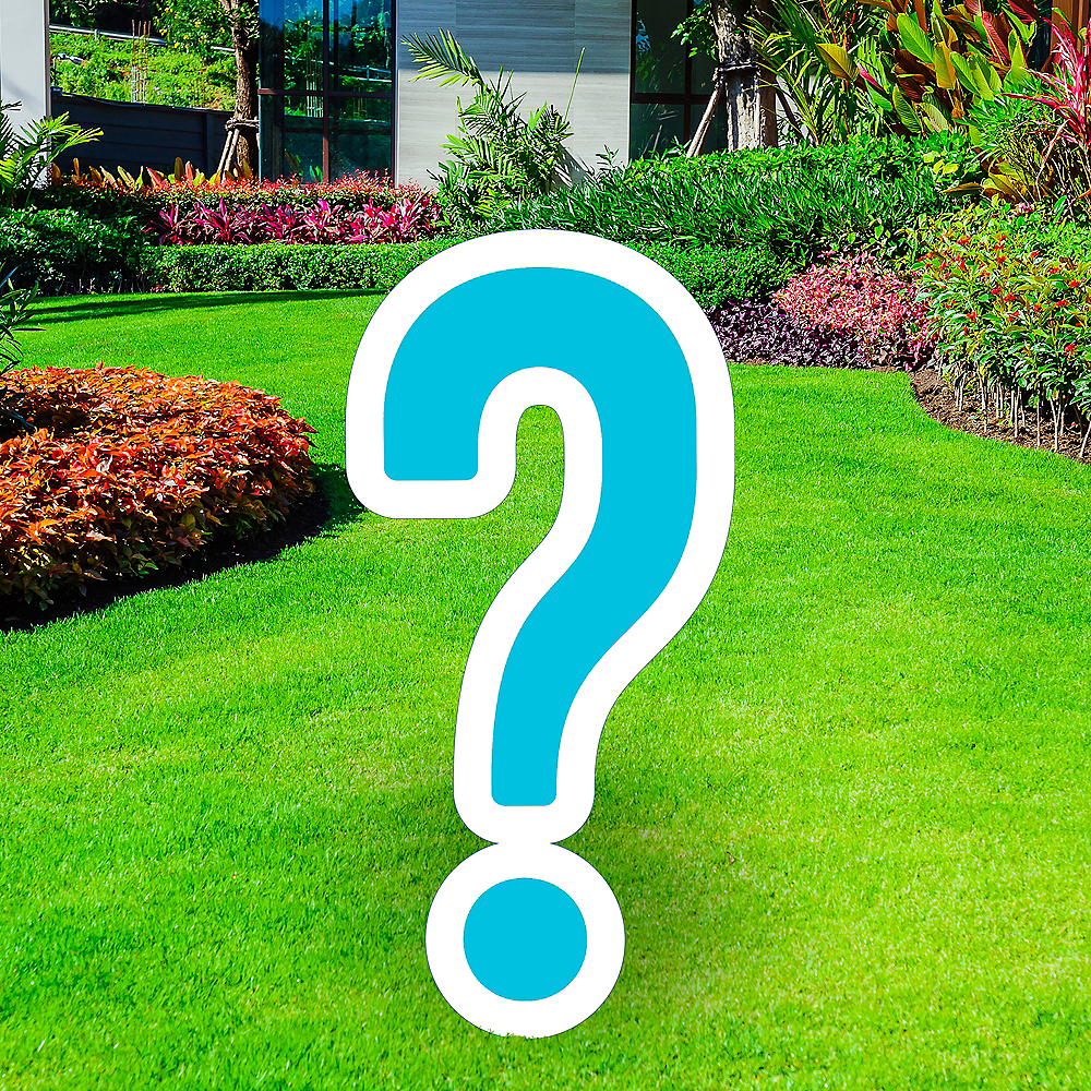 Giant Caribbean Blue Corrugated Plastic Question Mark Yard Sign, 20in Image #1