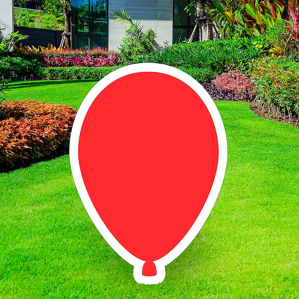 Giant Red Corrugated Plastic Balloon Yard Sign, 30in Image #1