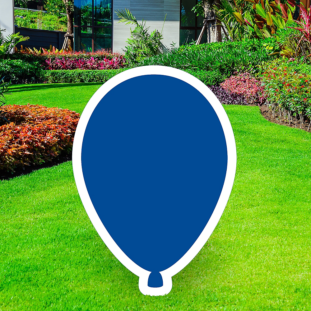 Giant Royal Blue Corrugated Plastic Balloon Yard Sign, 30in Image #1