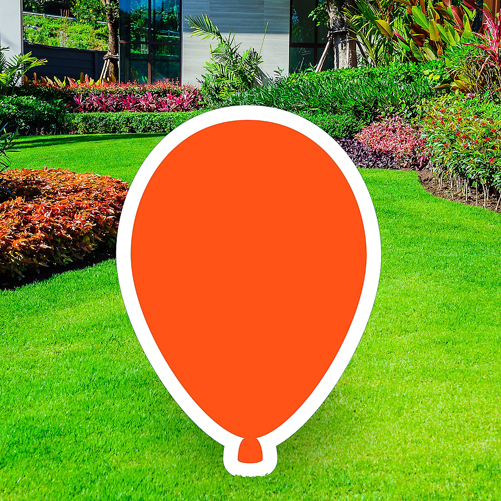 Giant Orange Corrugated Plastic Balloon Yard Sign, 30in Image #1