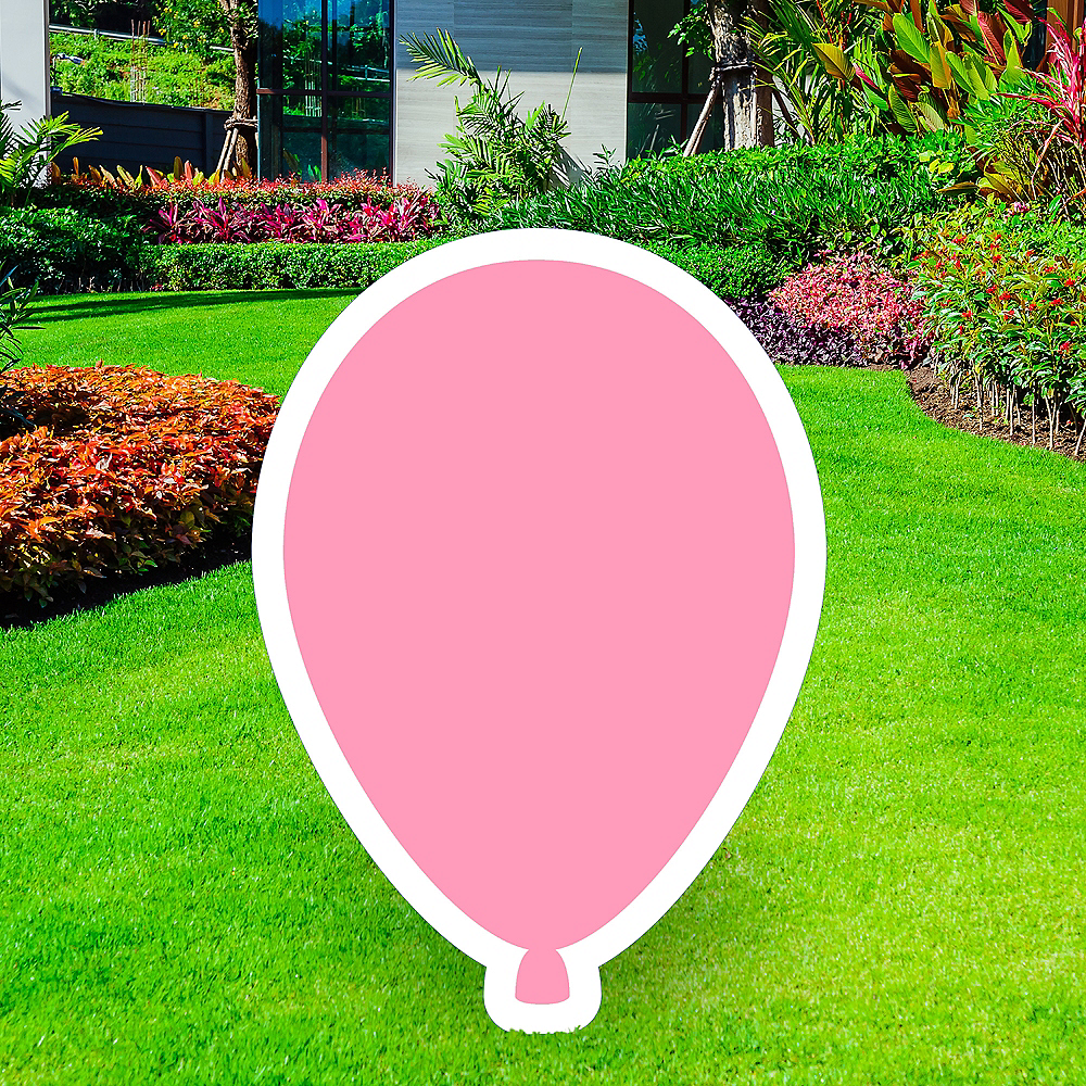 Giant Pink Corrugated Plastic Balloon Yard Sign, 30in Image #1