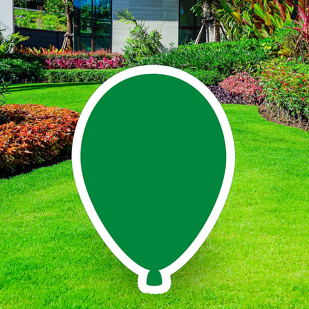 Giant Festive Green Corrugated Plastic Balloon Yard Sign, 30in Image #1