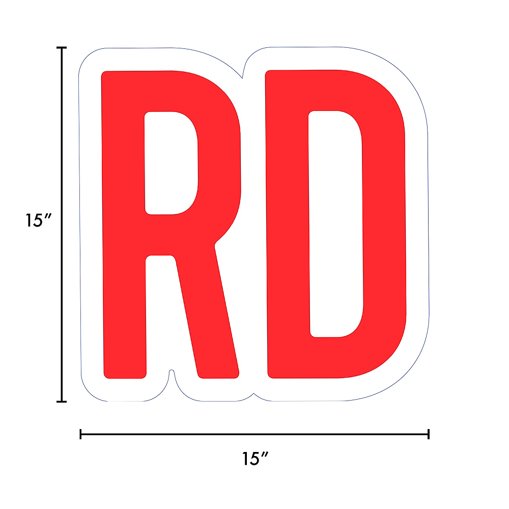 Giant Red Corrugated Plastic Ordinal Indicator (RD) Yard Sign, 15in Image #2