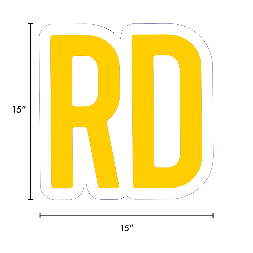 Giant Yellow Corrugated Plastic Ordinal Indicator (RD) Yard Sign, 15in Image #2