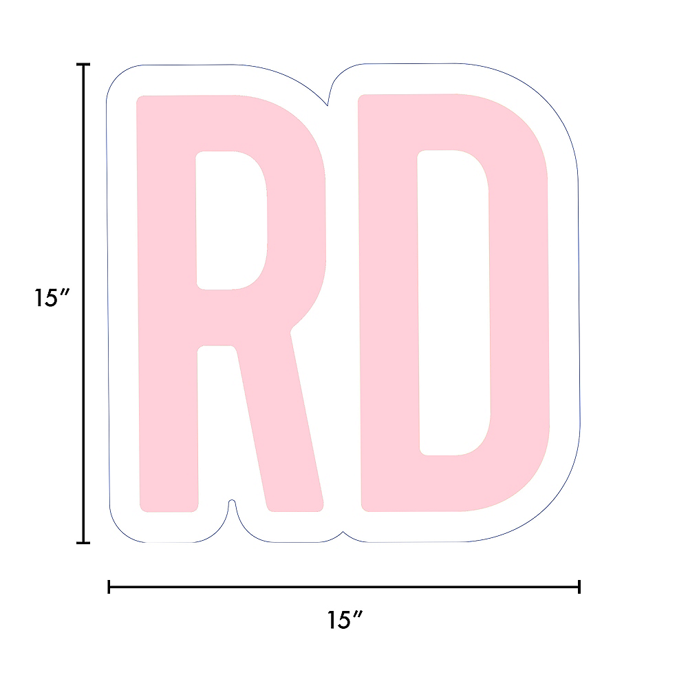 Giant Blush Pink Corrugated Plastic Ordinal Indicator (RD) Yard Sign, 15in Image #2