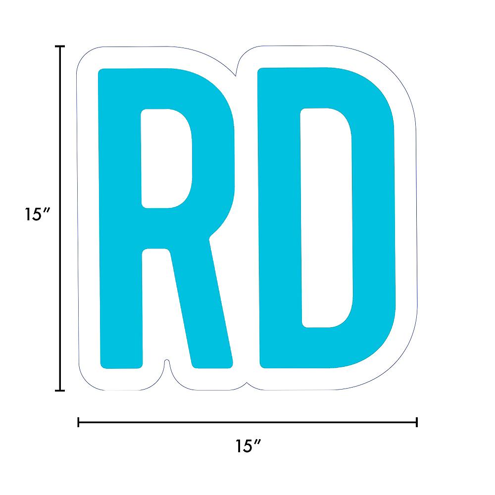 Giant Caribbean Blue Corrugated Plastic Ordinal Indicator (RD) Yard Sign, 15in Image #2