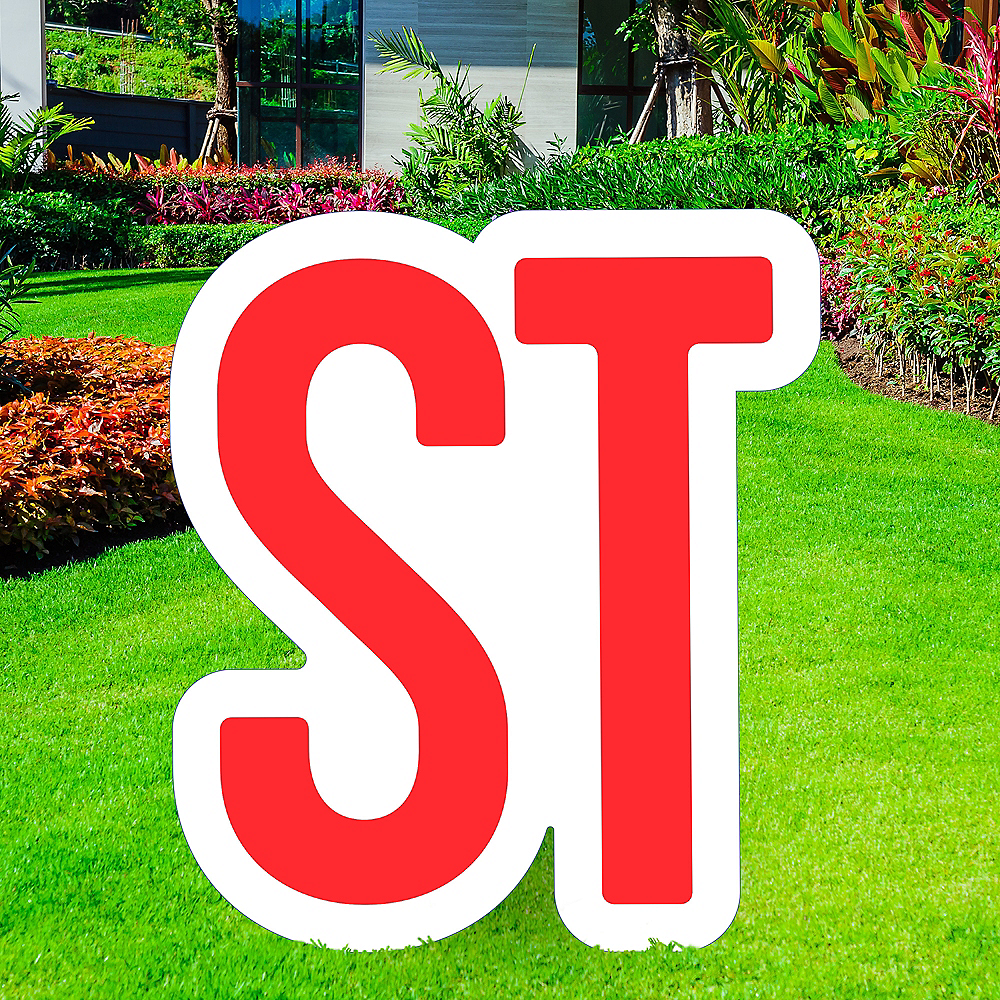 Giant Red Corrugated Plastic Ordinal Indicator (ST) Yard Sign, 15in Image #1