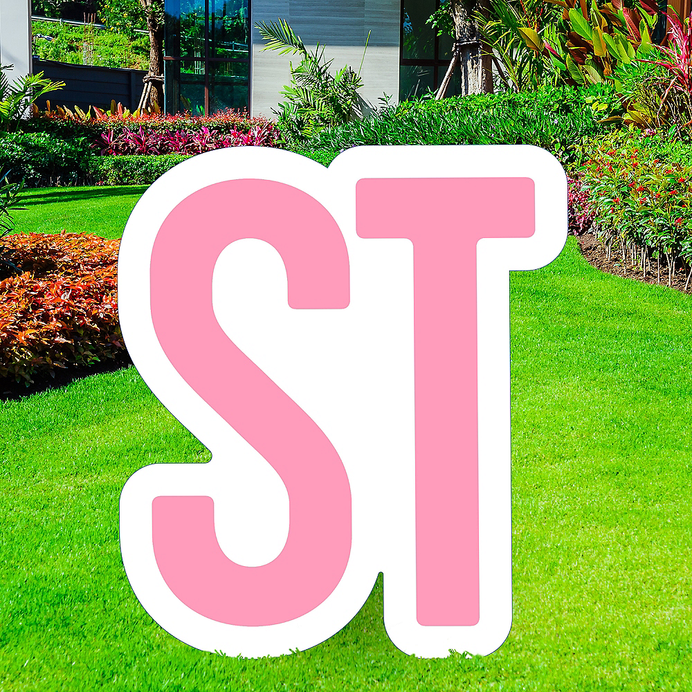 Giant Pink Corrugated Plastic Ordinal Indicator (ST) Yard Sign, 15in Image #1